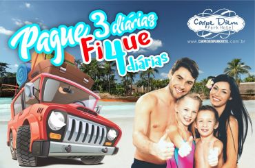Pague 3 e fique 4 no Carpe Diem Park Hotel